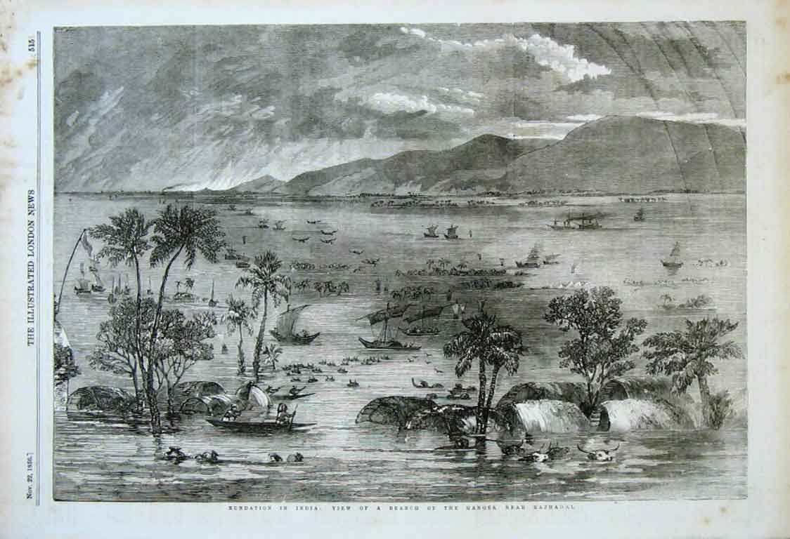 Print Greast Flood Ganges Nr Rajmahal 1856 Indi 15Aaa0 Old Original