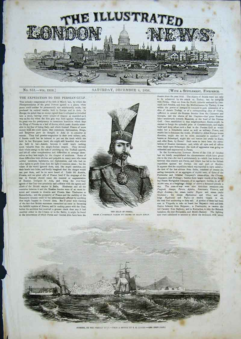 Print Expedition To Persion Gulf1856 The Shah 60Aaa0 Old Original
