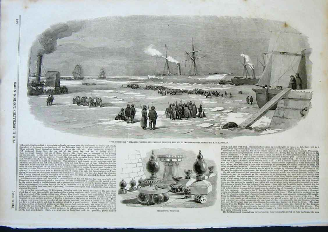Print Steamer Forcing Passage To Cronstadt 1856 Ships & Ice 67Aaa0 Old Original