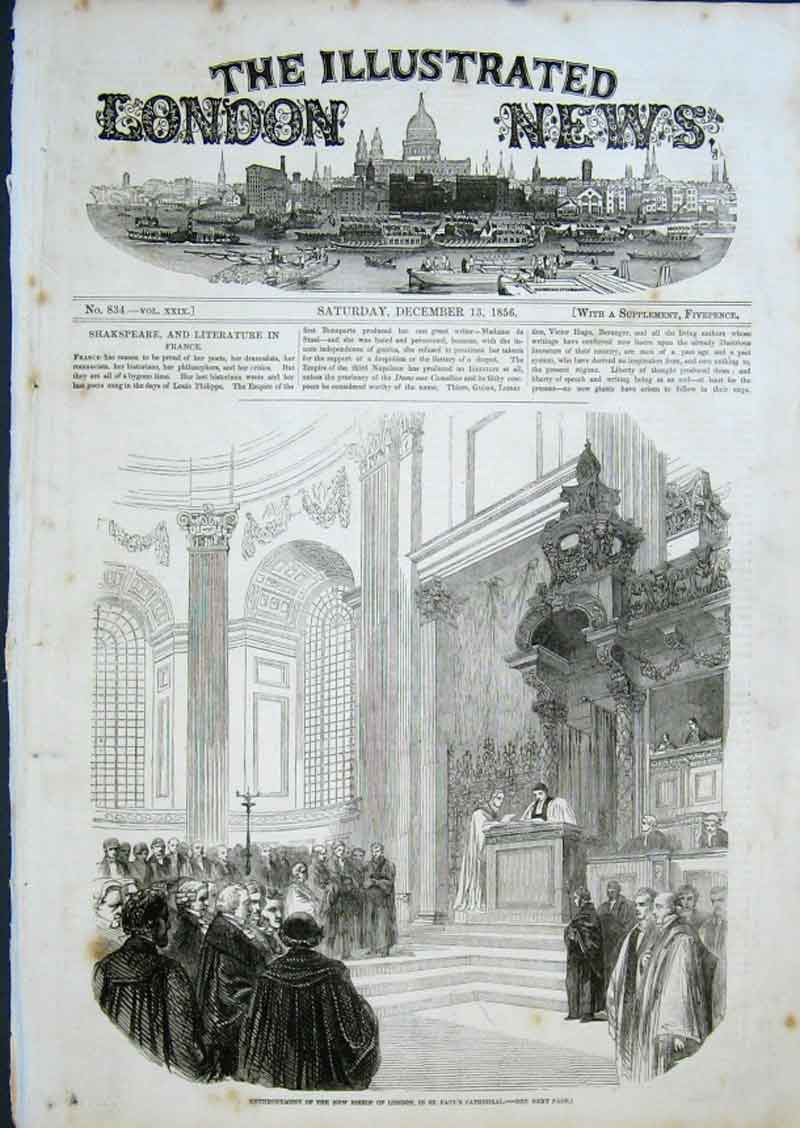 Print Enthronement Bishop London 1856 St Pauls 84Aaa0 Old Original