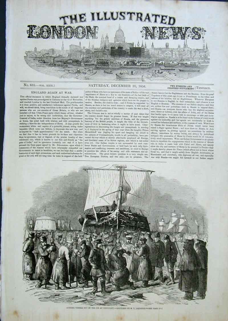 Print Cutting Ships Out Ice Cronstadt 1856 08Aaa0 Old Original