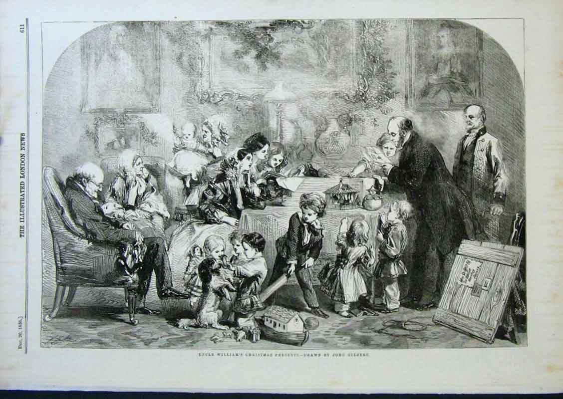 Print Uncle Williams Christmas Presents By Gilbert 1856 11Aaa0 Old Original