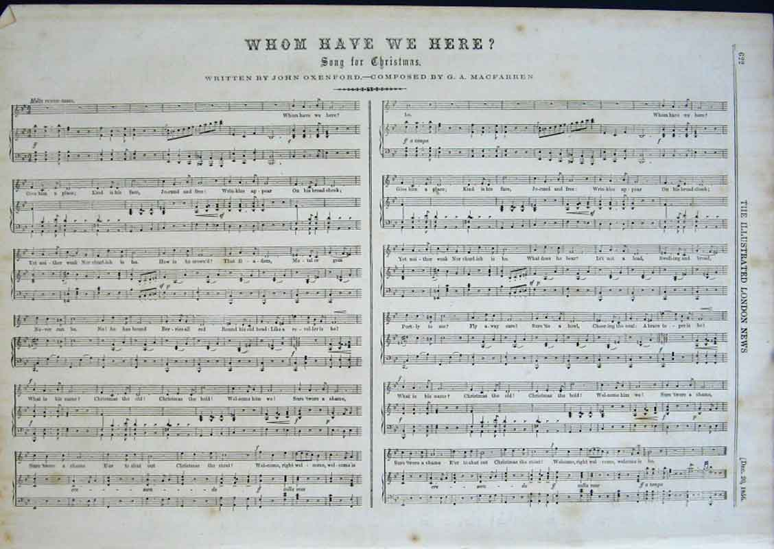 Print Song For Christmas 1856 Whom Have We Here 22Aaa0 Old Original