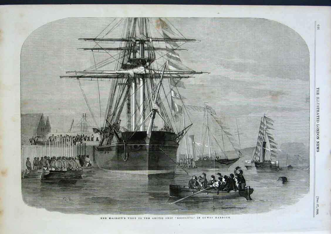 Print Artic Ship Resolute In Cowes Harbour 1856 46Aaa0 Old Original