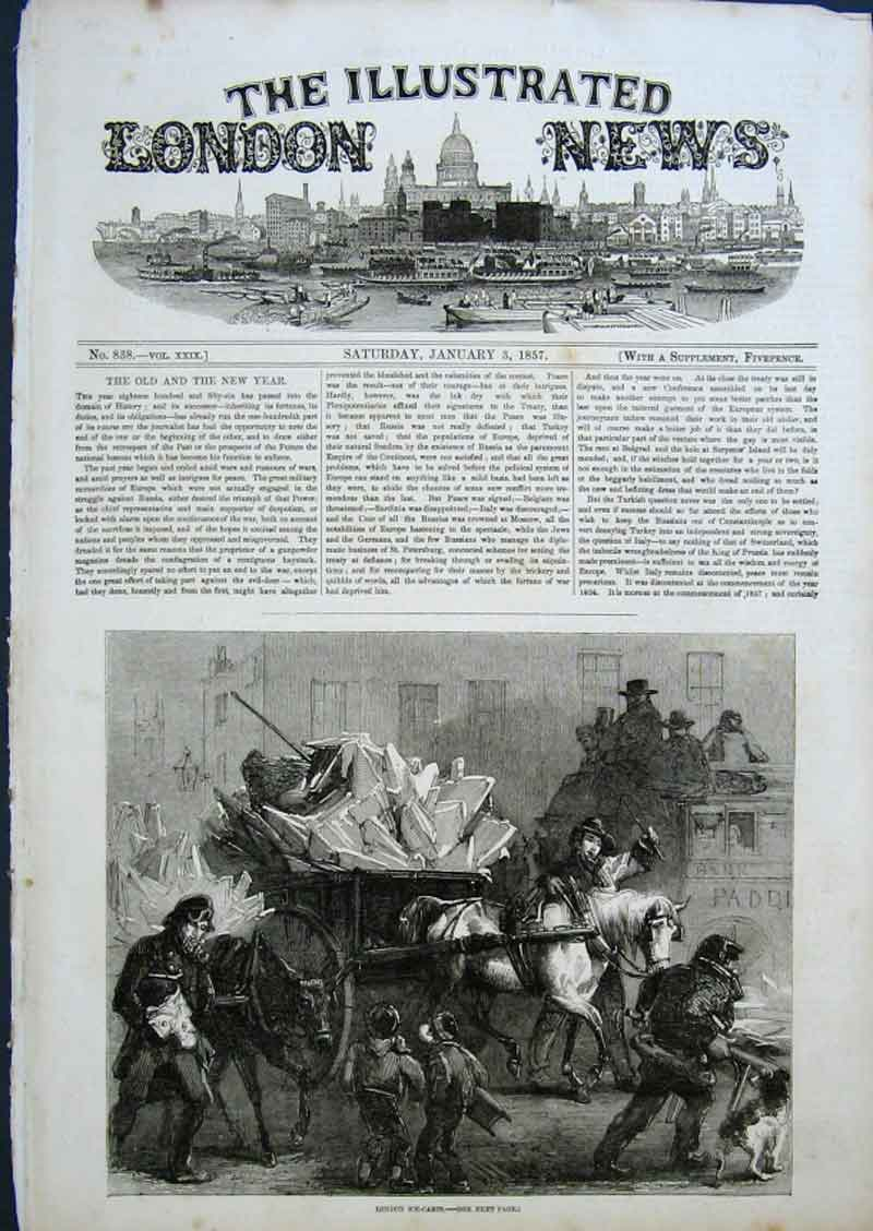 Print London Ice Carts 1856 64Aaa0 Old Original