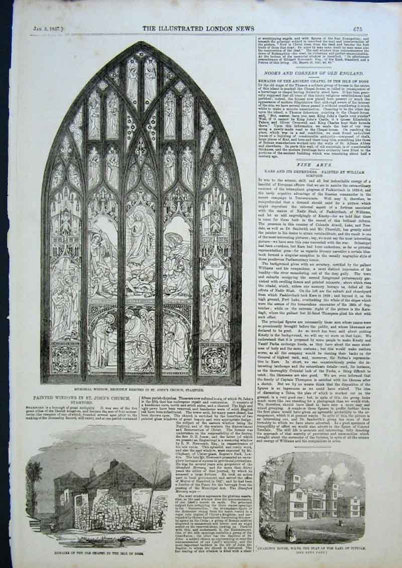 Print Memorial Stained Glass Window St John'S Church Stamford 75Aaa0 Old Original