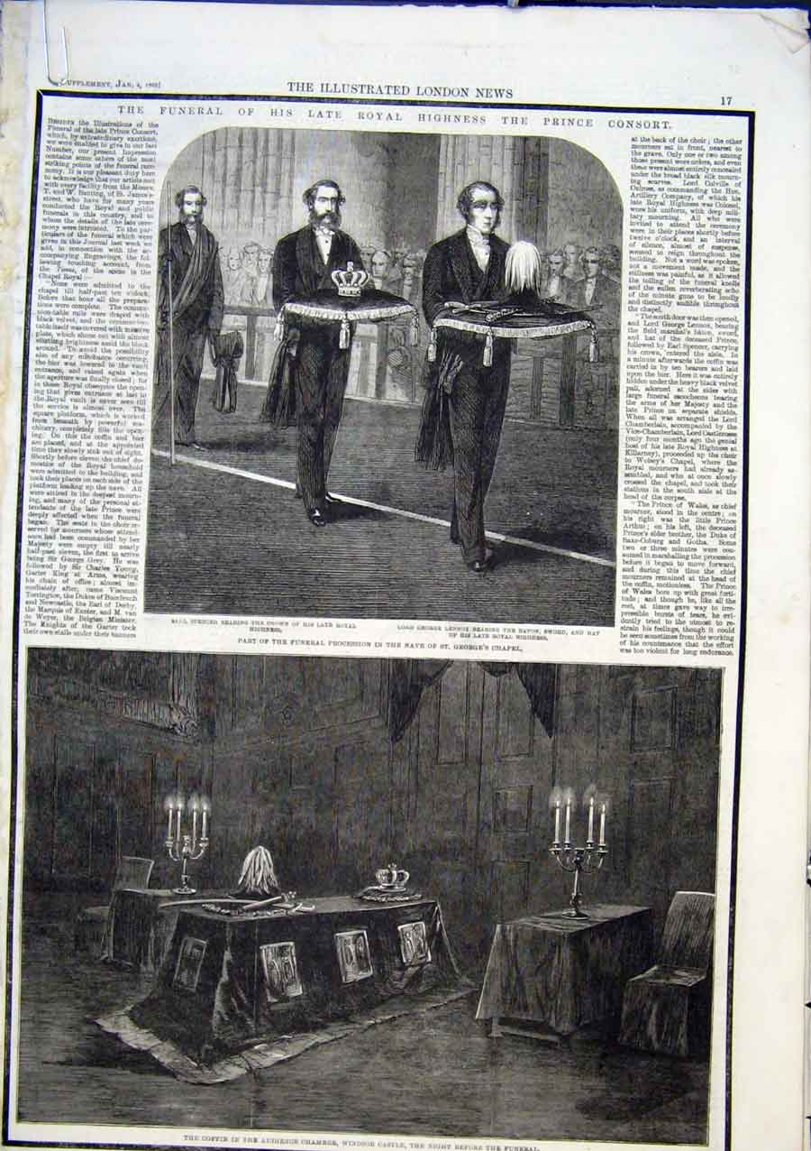 Print Funeral Hrh Royal Consort 1862 17Aaaa0 Old Original