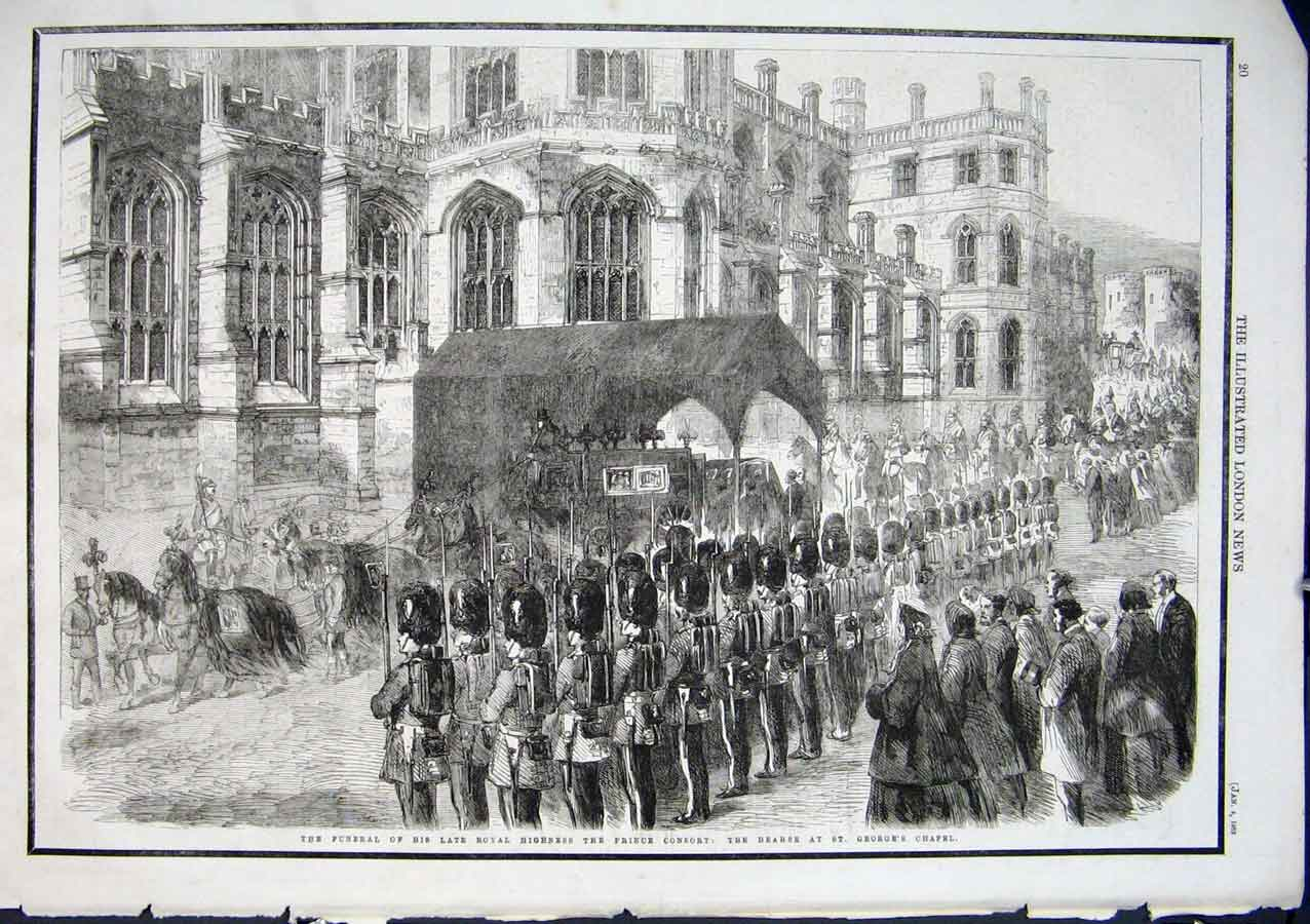 Print Funeral Prince Consort 1862 Herse At St Georges Chapel 20Aaa0 Old Original