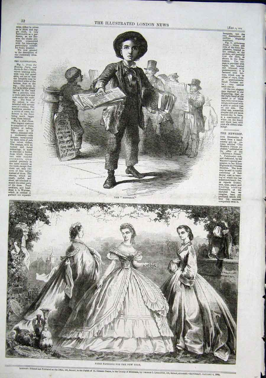 Print The New Boy Selling The Times 1862 32Aaa0 Old Original
