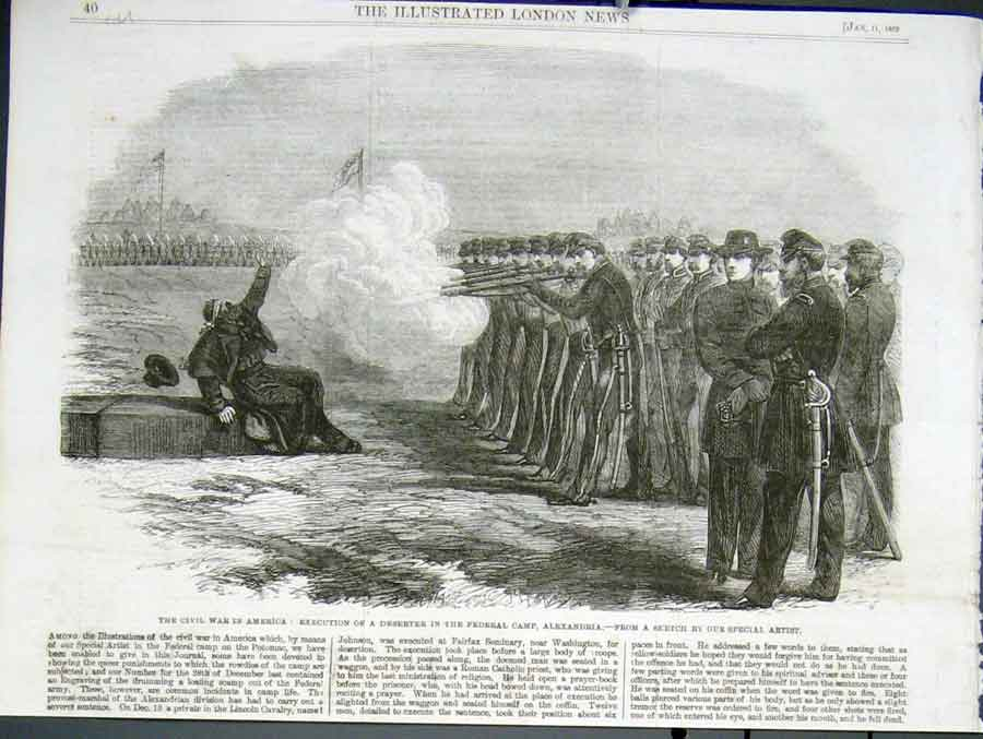 Print Execution Federal Deserter Civil War America 1862 40Uaaa0 Old Original
