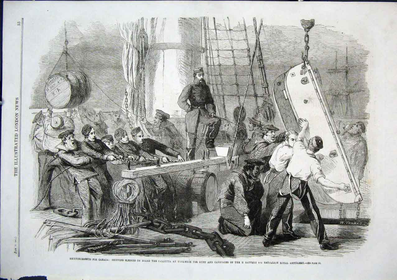 Print Sledges For Guns Loading Ship Calcutta For Canada 1862 53Aaa0 Old Original