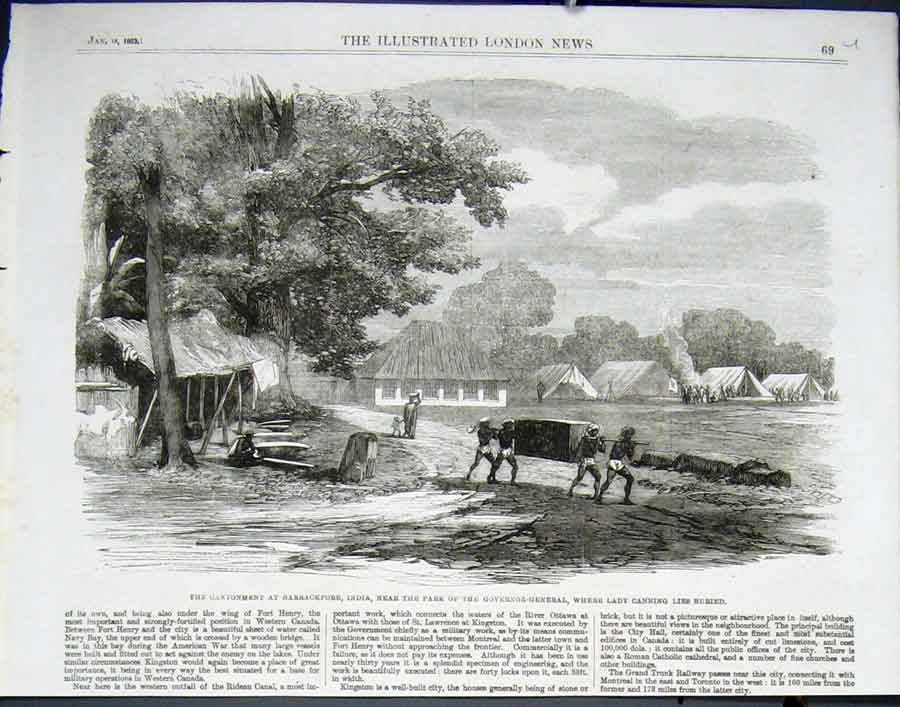 Print Camp Barrackpore India Where Lady Canniny Lies Buried 1 69Uaaa0 Old Original
