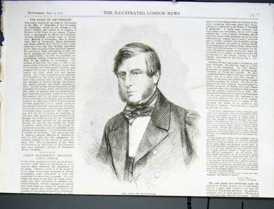 Print Portrait Duke Devonshire 1862 73Uaaa0 Old Original