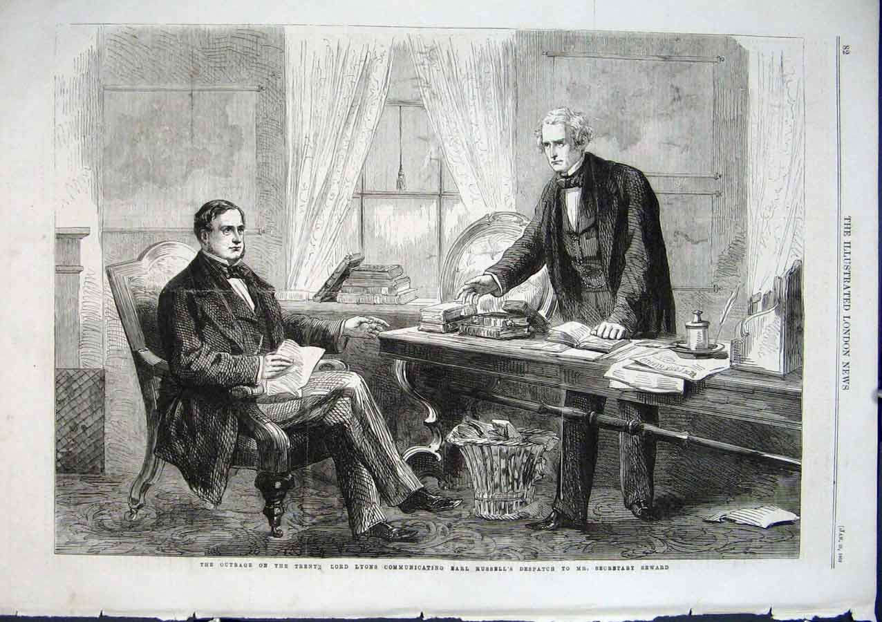 Print Lord Lyons & Earl Russell Re Outrage On The Trents 1862 82Aaa0 Old Original