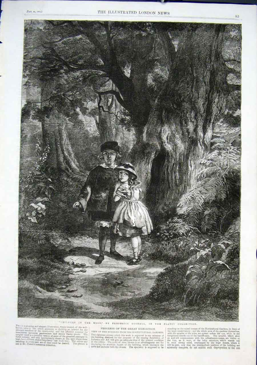 Print Children In The Wood By Goodall 1862 Fine Art 83Aaa0 Old Original