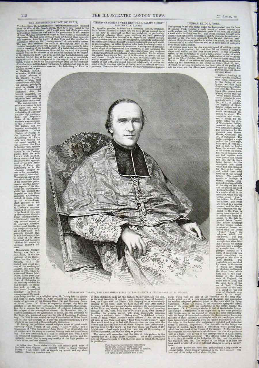 Print Monseignor Darboy Archbishop Elect Paris 1862 12Aaa0 Old Original