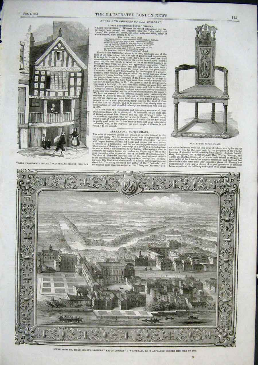 Print Whitehall As It Was Befor Fire 1691 1862 15Aaa0 Old Original