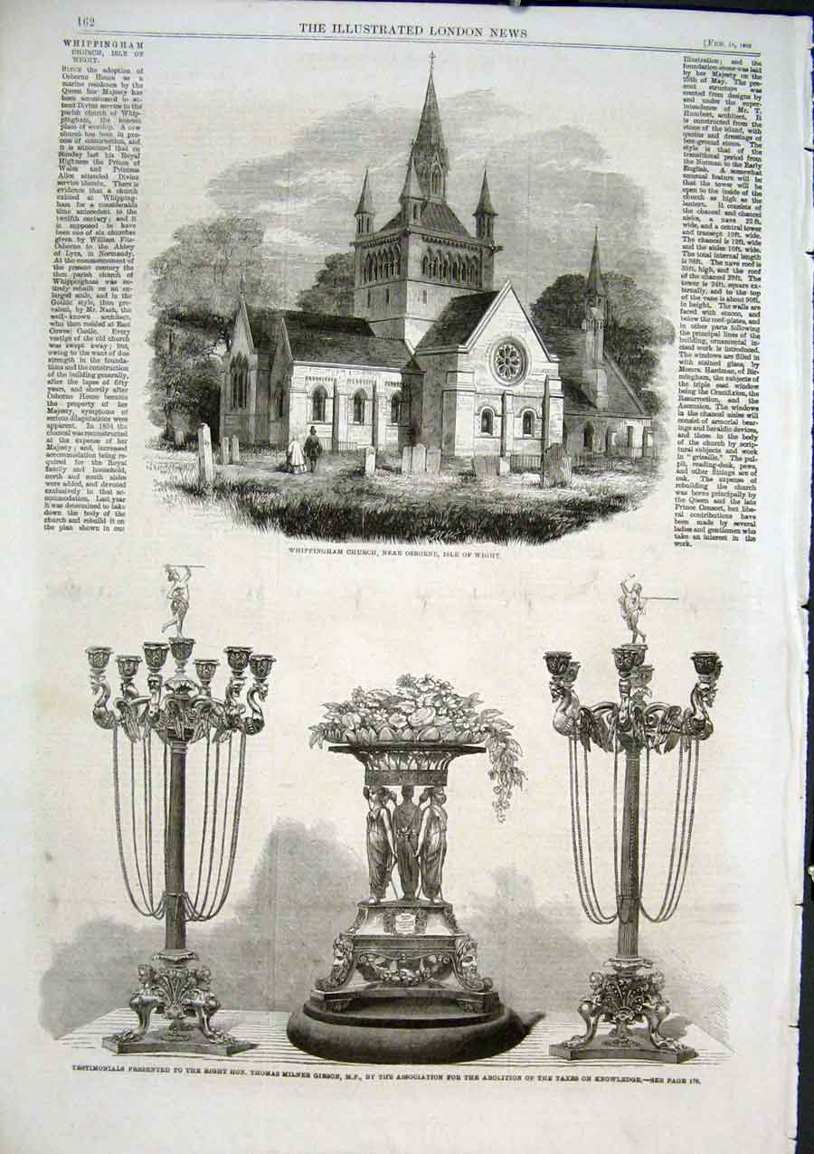 Print Wippingham Church Nr Osbotrne Isle Wight 1862 62Aaa0 Old Original