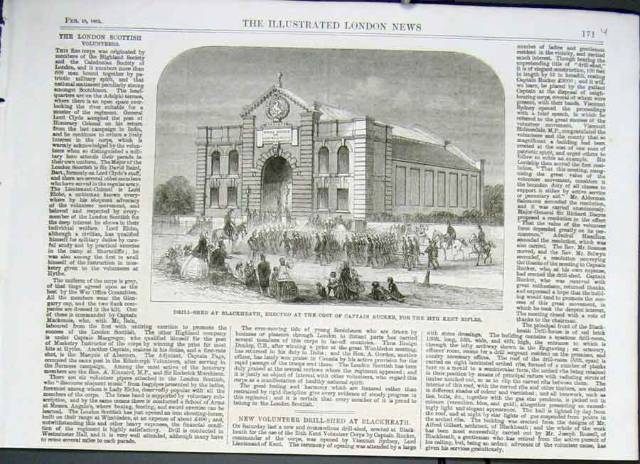 Print Drill Shed Blackheath 1862 25Th Kent Rifles 71Uaaa0 Old Original
