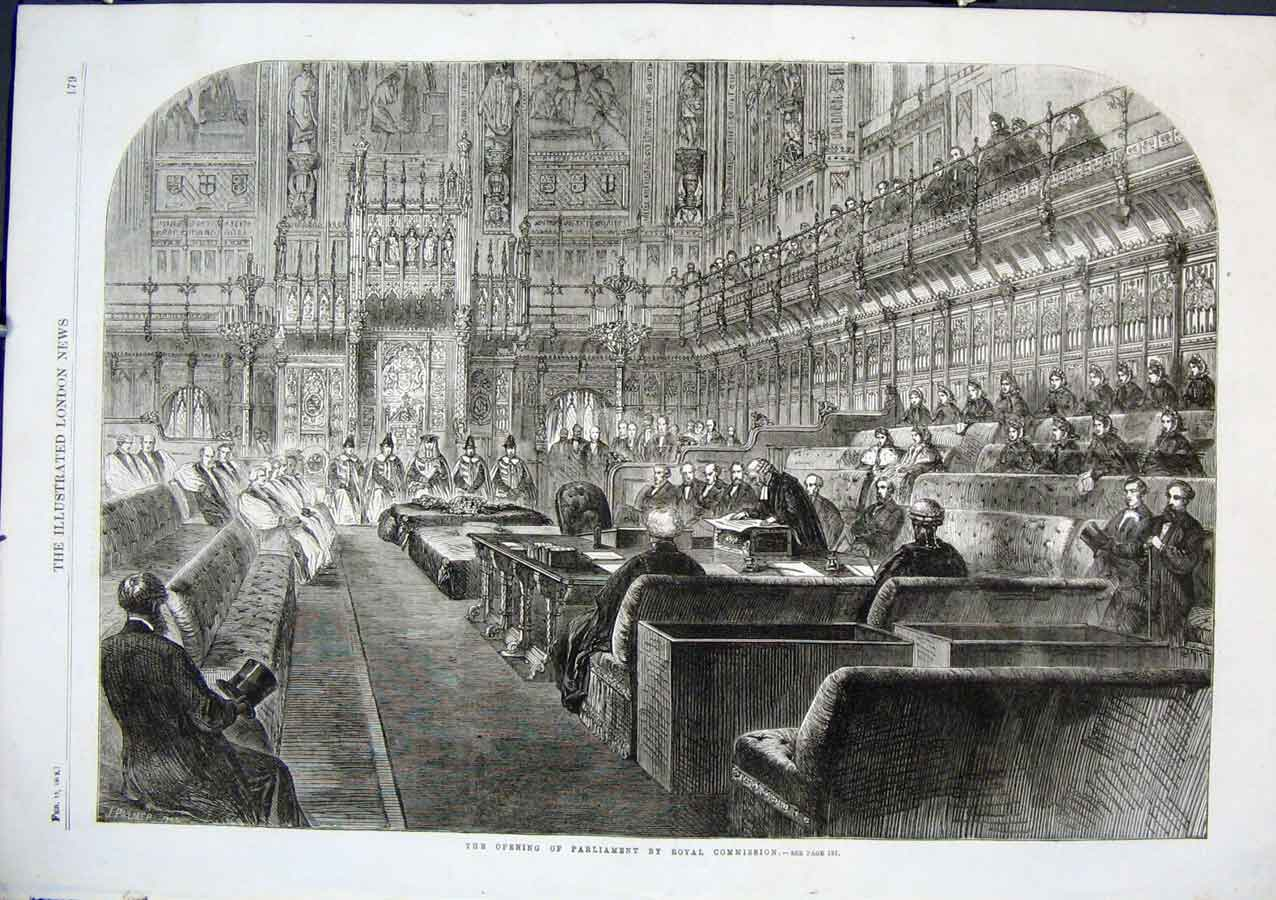 Print Opening Parliament By Royal Commission 1862 79Aaa0 Old Original
