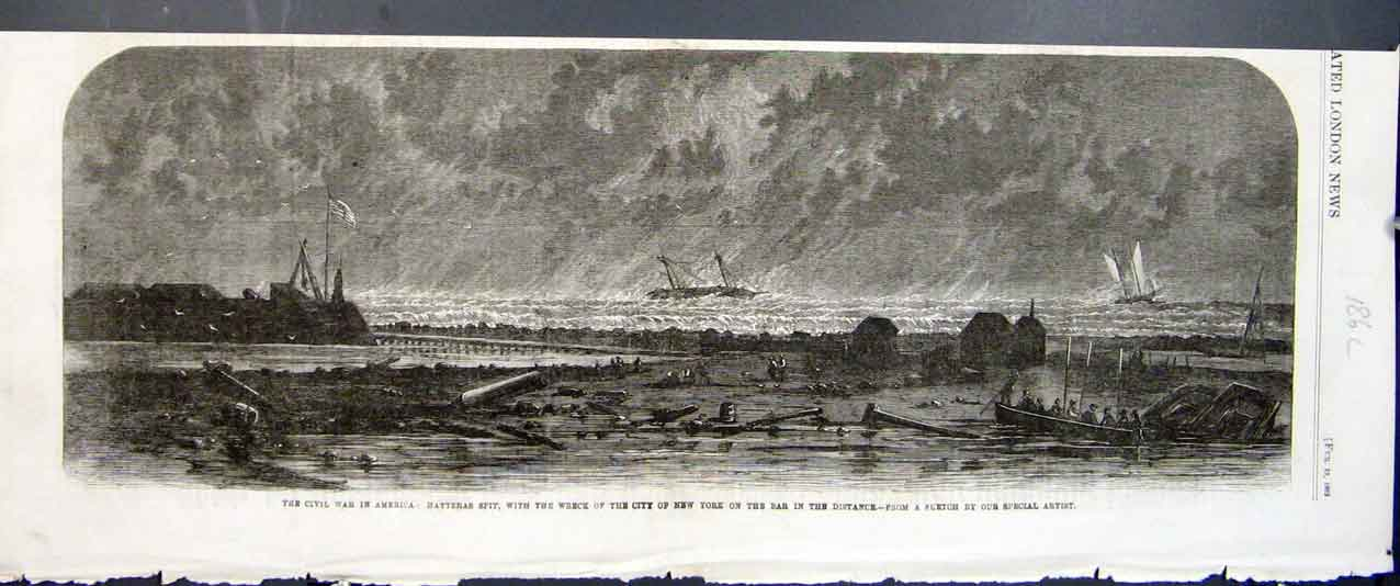 Print Wreck New York Batteras Spit Civil War America 1862 86Laaa0 Old Original