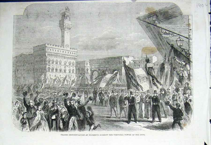 Print Trades Demo Florence Against Pope 1862 90Laaa0 Old Original