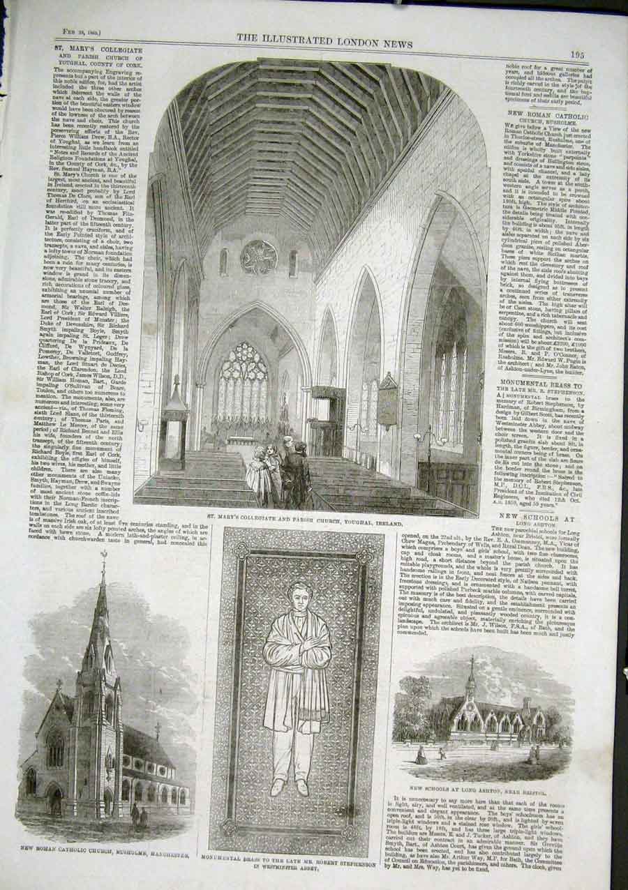 Print St Mary'S College & Church Yougal Ireland 1862 95Aaa0 Old Original