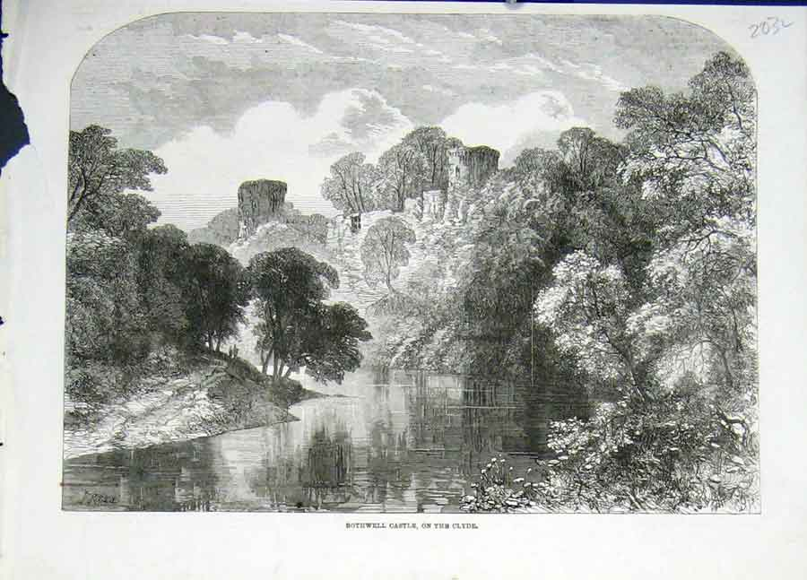 Print Bothwell Castle On The Clyde 1862 03Laaa0 Old Original