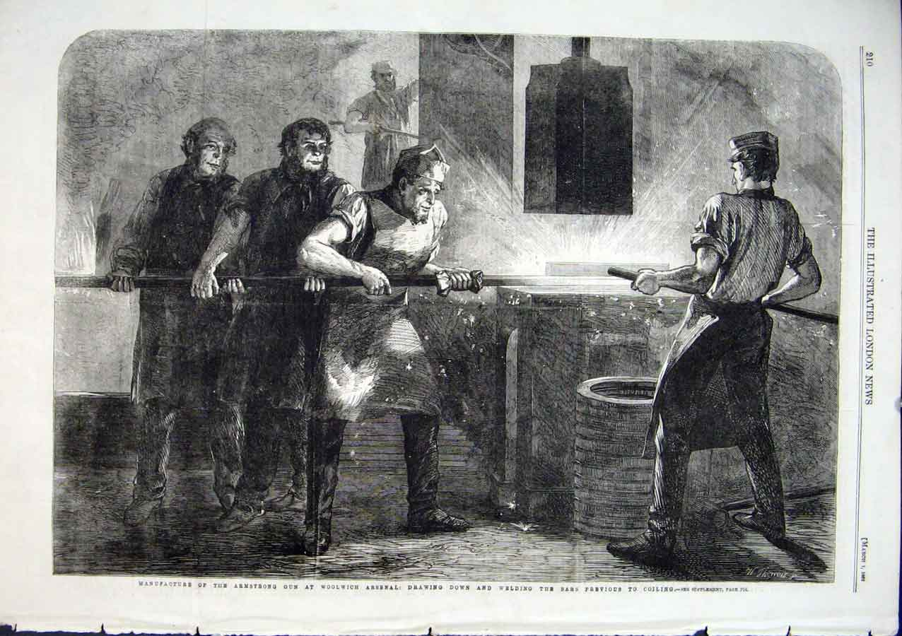 Print Ironworks For Armstrong Gun Woolwich Arsenel 1862 *1 10Aaa0 Old Original
