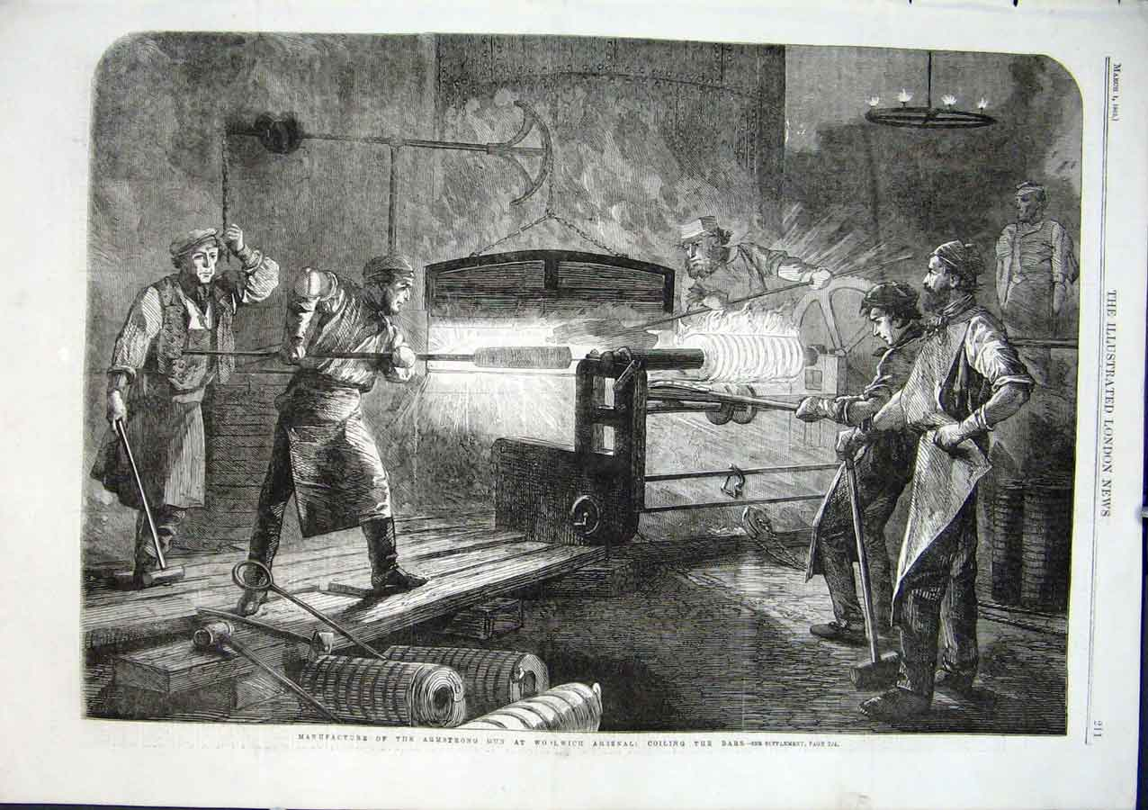 Print Ironworks For Armstrong Gun Woolwich Arsenel 1862 *2 11Aaa0 Old Original