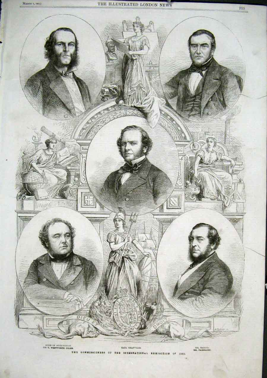 Print Portraits Commissioners International Exhibition 1862 15Aaa0 Old Original