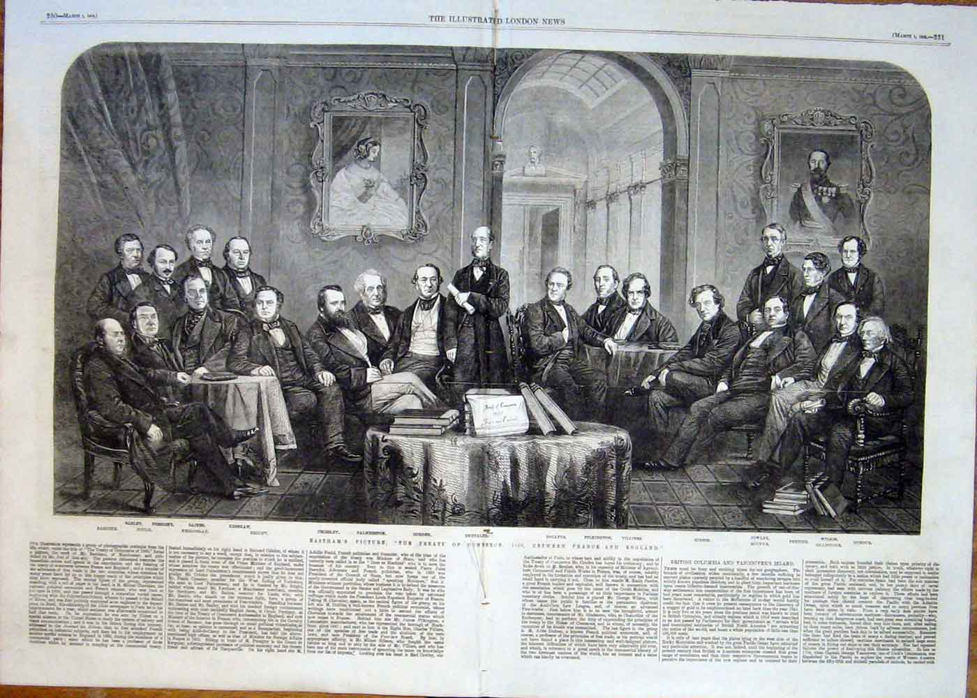 Print Easthams Picture Treaty Commerce 1860 France & Engla 29Taaa0 Old Original