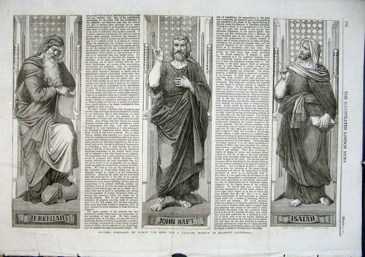 Print Figures Prepared By Von Hess For Glasgow Cathedral 1863 38Aaa0 Old Original
