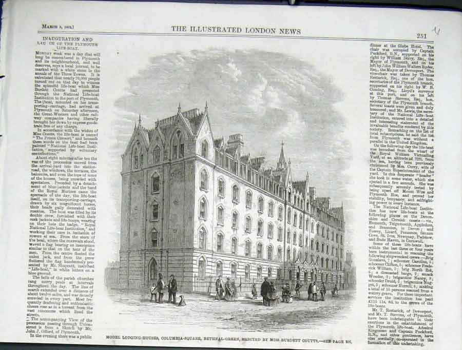 Print Lodging House Columbia Sq Bethnal Green 1862 51Uaaa0 Old Original