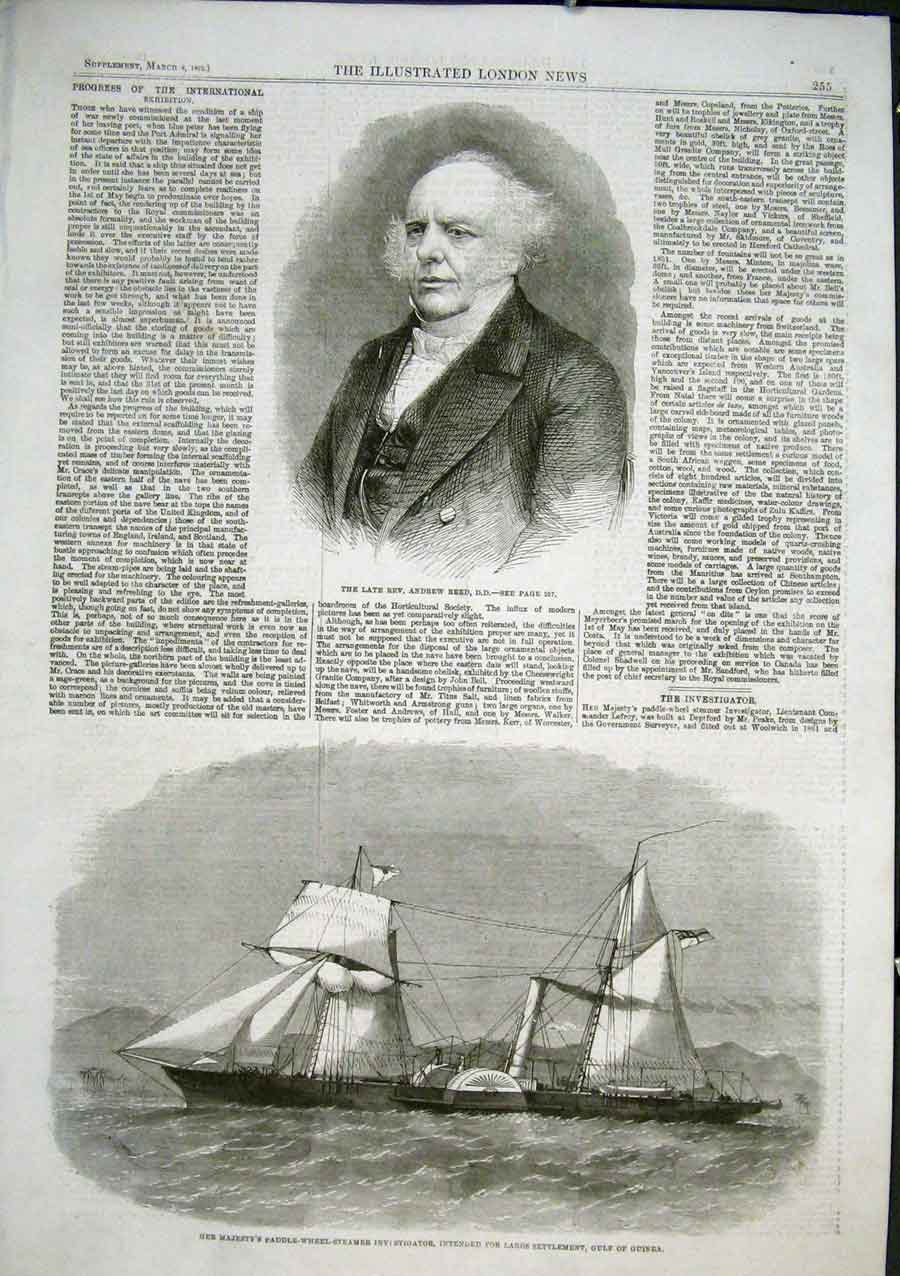 Print Hms Paddle Ship Investigator For Lagos Guinea 1863 55Aaa0 Old Original