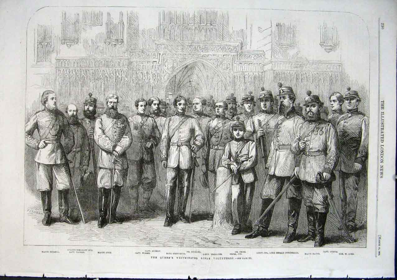 Print Queen Westiminster Rifle Volunteers 1862 90Aaa0 Old Original