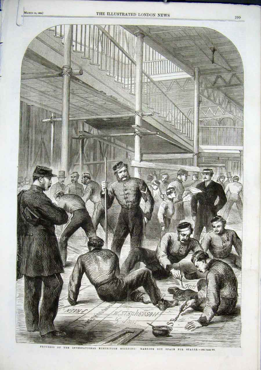 Print Marking Space For Stalls International Exhibition 1862 99Aaaa0 Old Original