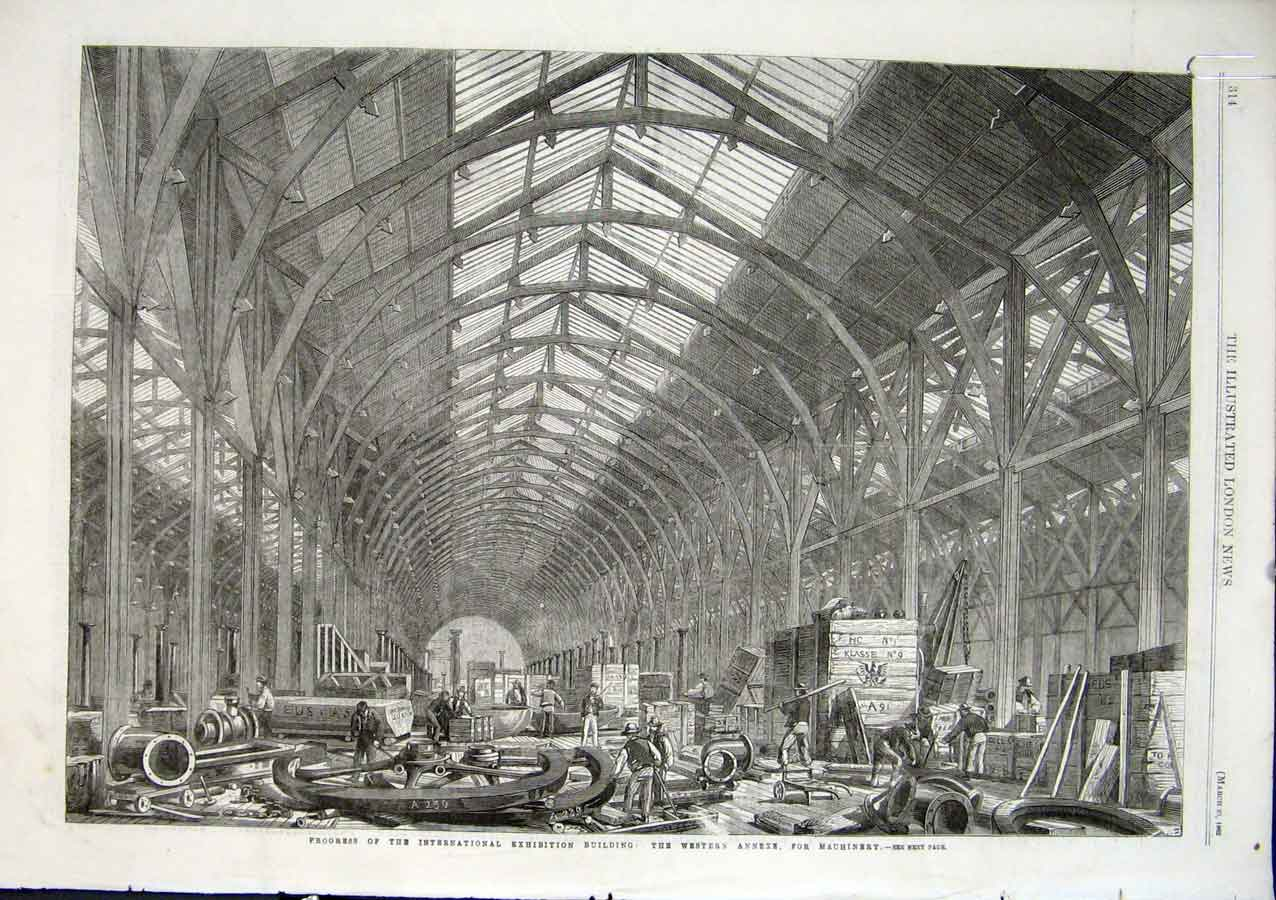 Print Machinery Annexe International Exhibition Building 1862 14Aaaa0 Old Original