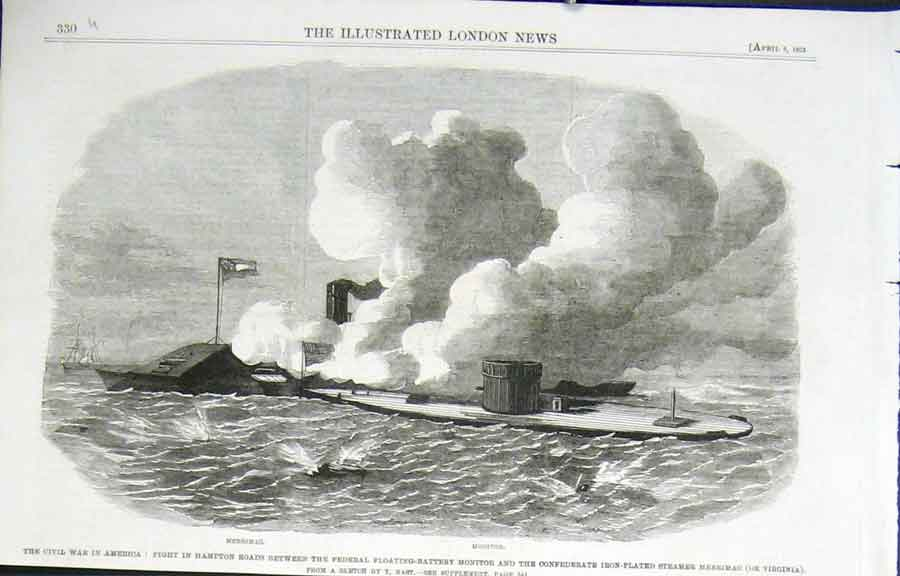 Print Ships Fight Hampton Roads Civil War America 1862 30Uaaa0 Old Original