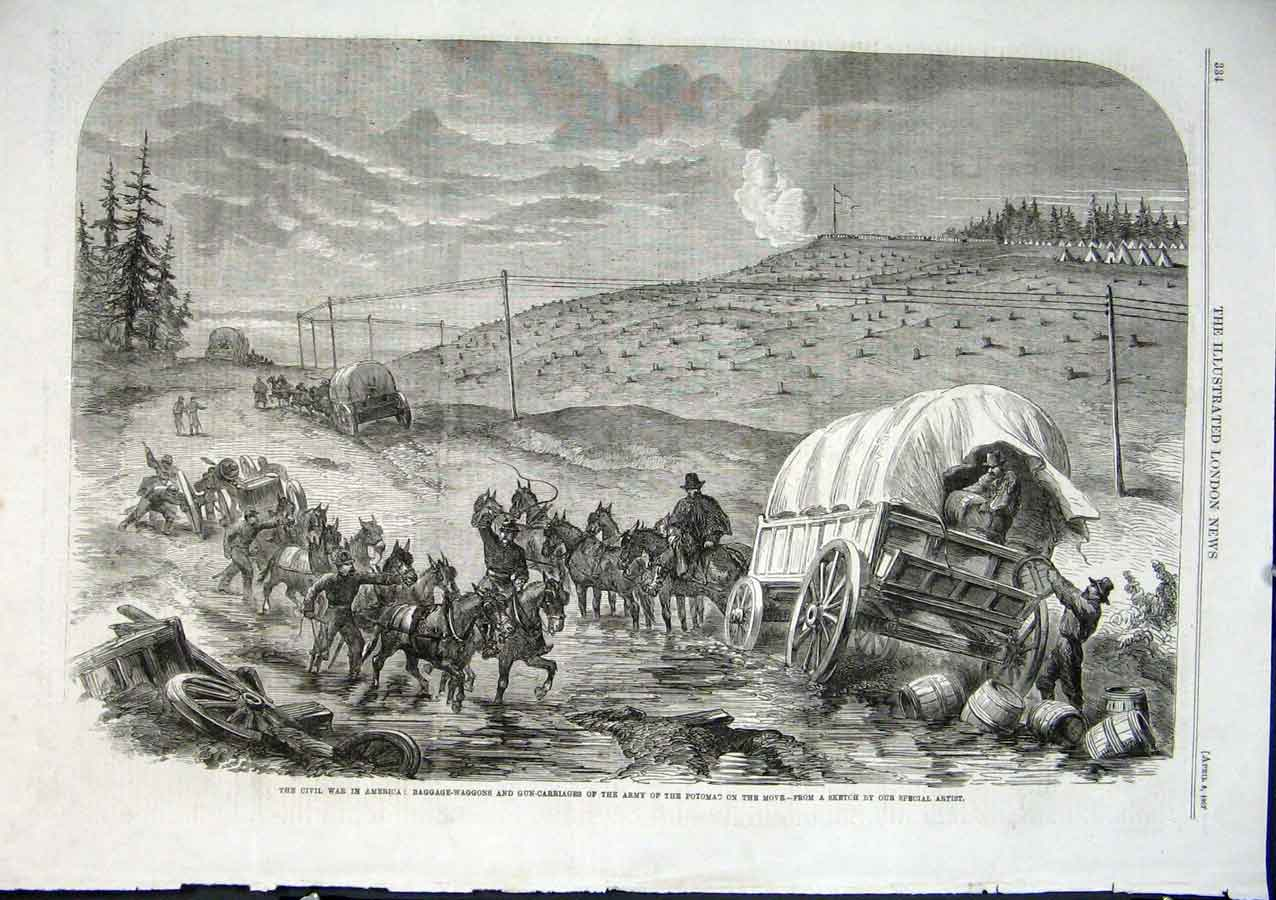 Print Army Potomac On Move Civil War America 1862 34Aaa0 Old Original