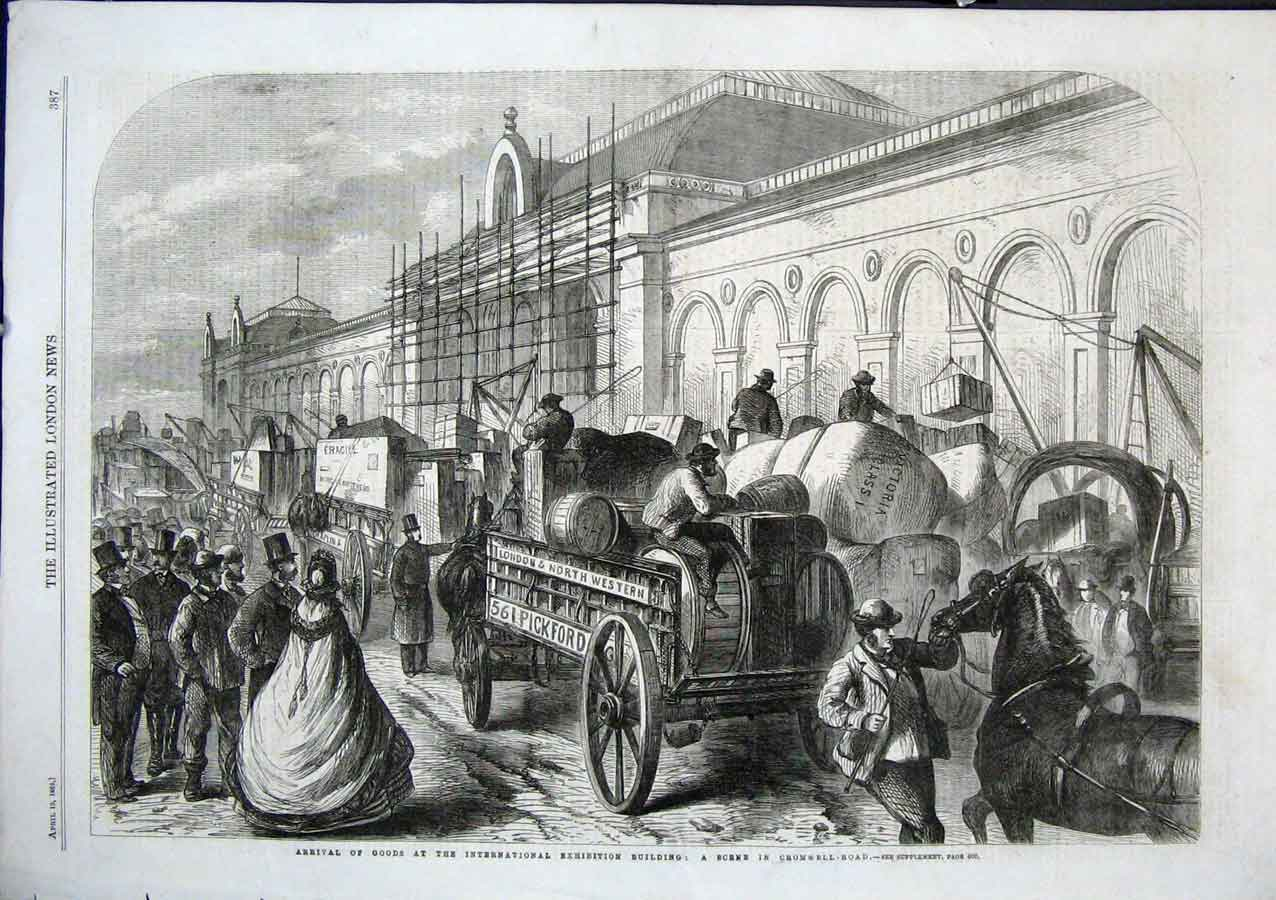 Print Arrival Goods By Horse & Cart International Exhibition 87Aaa0 Old Original