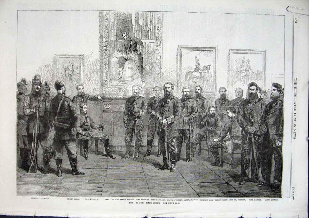 Print The South Middlesex Volunteers 1862 34Aaaa0 Old Original