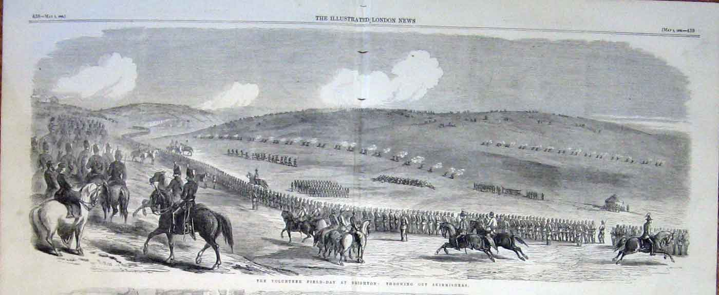 Print Volunteer Day Brighton Throwing Out Skirmishers 1862 Ar 37Taaa0 Old Original