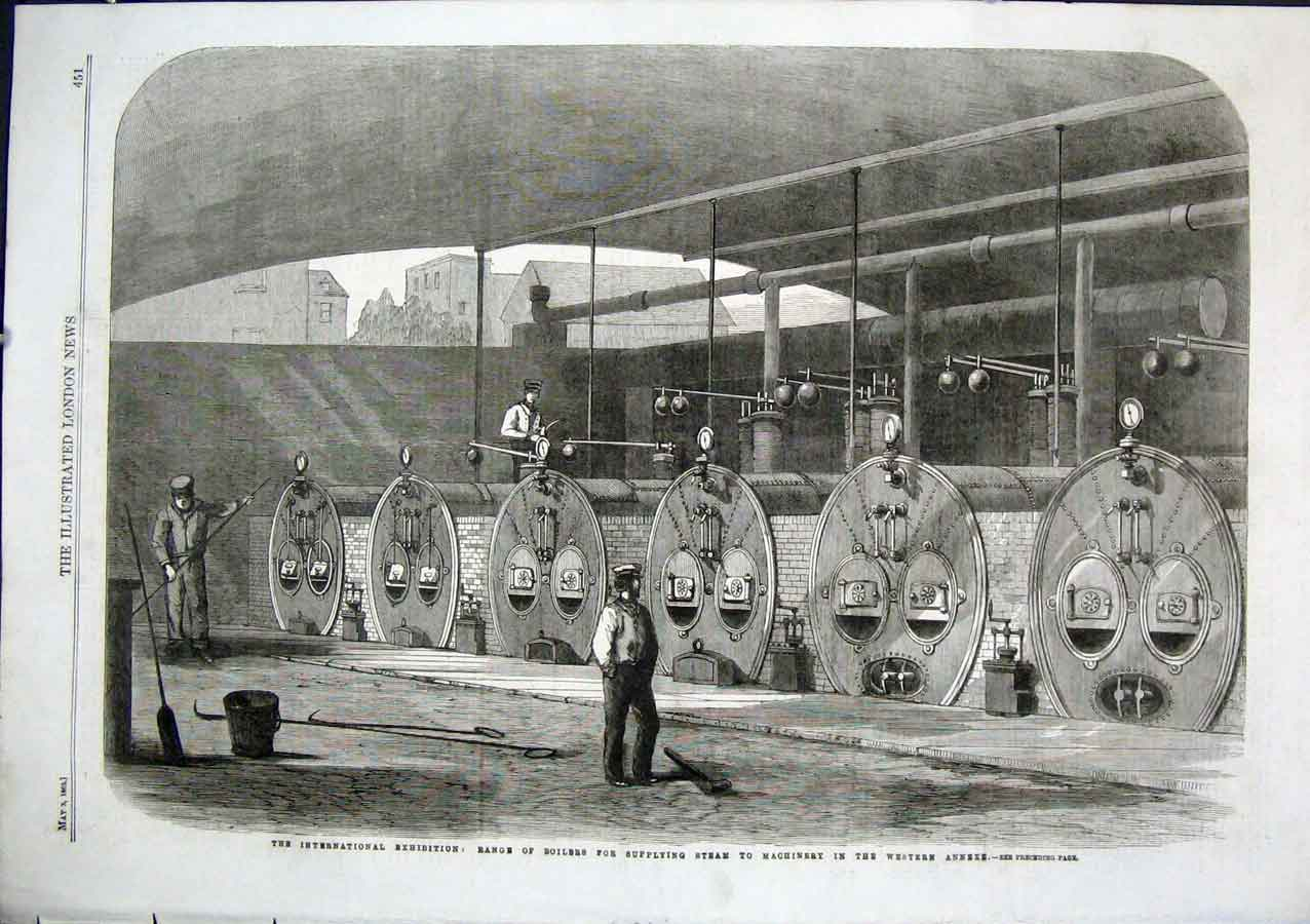 Print Boilers Supplying Steam To International Exhibition 186 51Aaa0 Old Original