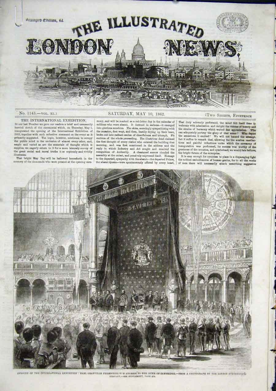 Print Opening International Exhibition 1862 64Aaaa0 Old Original