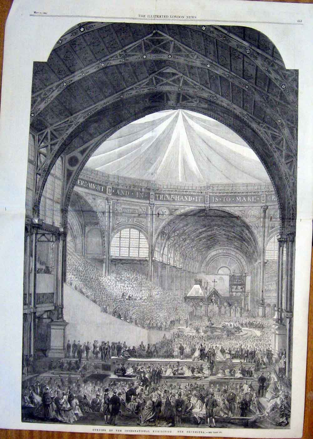 Print The Orchestra International Exhibition Opening 1862 89Taaa0 Old Original