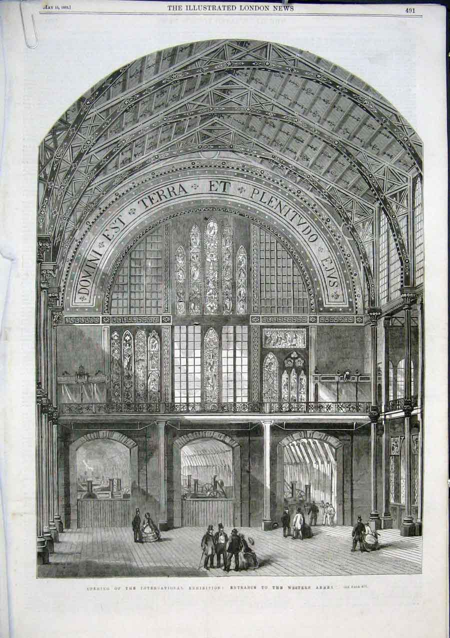Print West Annexe International Exhibition 1862 91Aaaa0 Old Original