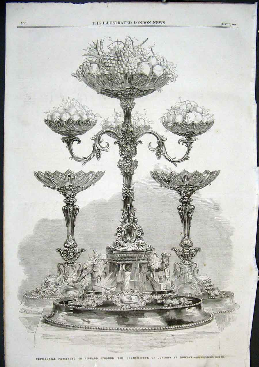 Print Silver Table Pieces 1862 Richard Spooner 06Aaa0 Old Original