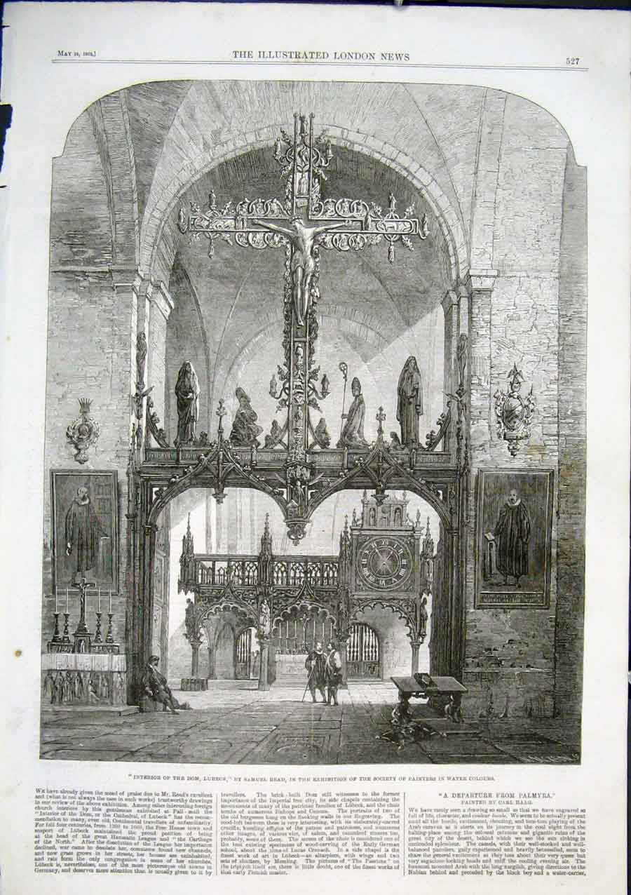 Print Interior The Dom Lubeck By Read 1862 27Aaa0 Old Original