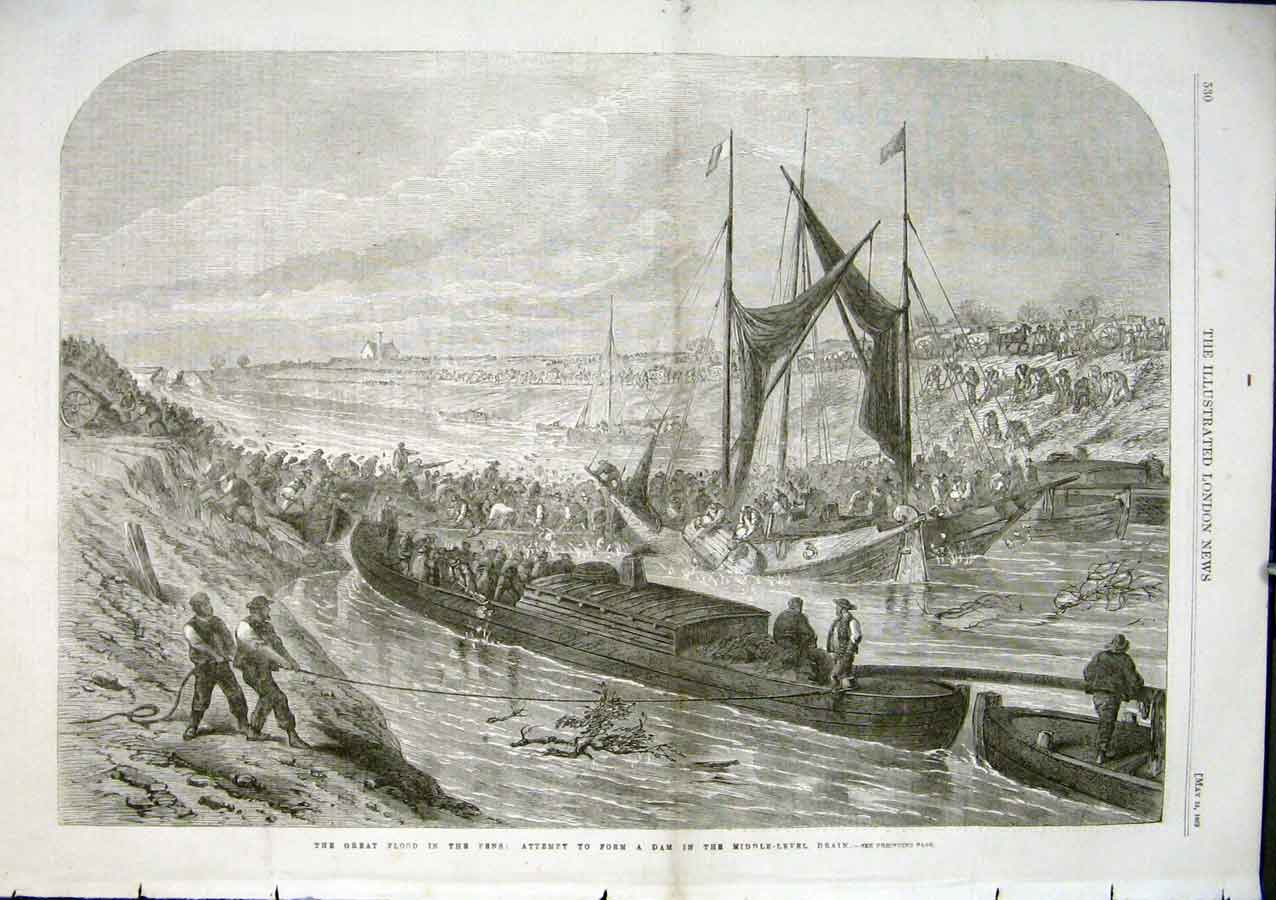 Print Great Flood In Fens Dam The Middle Level 1862 30Aaa0 Old Original